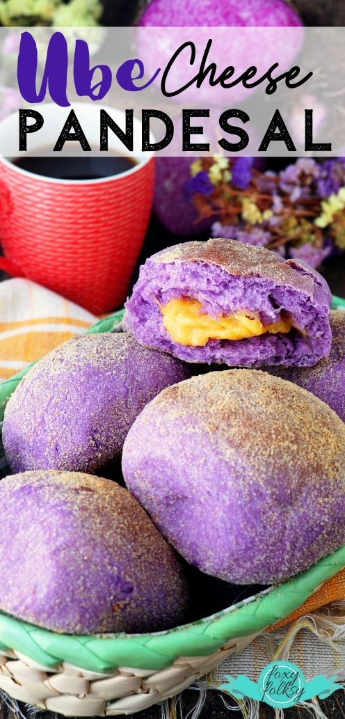 These Ube Pandesal are not just pretty, they are deliciously soft and pillowy with melty cheese filling. Perfect for breakfast or snack. | www.foxyfolksy.com #bread #breakfast #filipino #purpleyam #ube #recipe