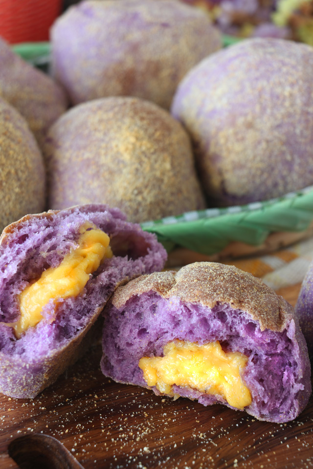 Pandesal made with Ube and with cheese filling.