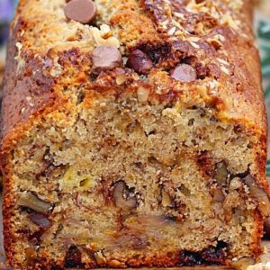 Banana Bread with chocolate chips, banana slices, and walnuts.