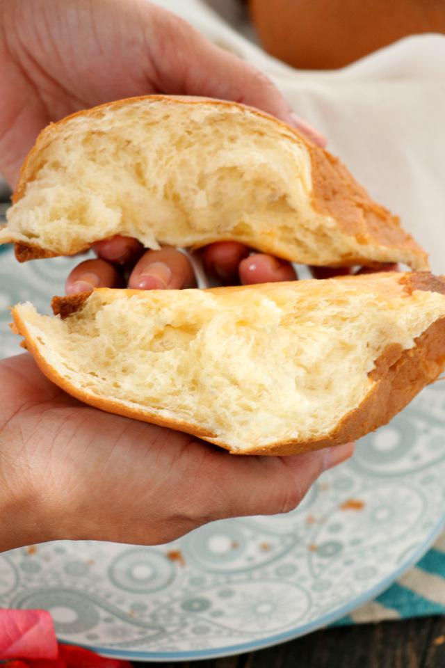 Inside a soft and fluffy coffee bun