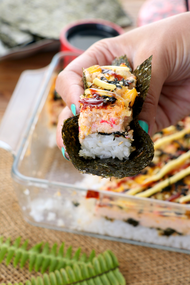 baked sushi served in nori wrap