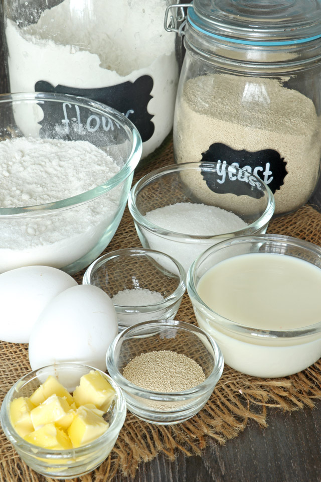 ingredients for a soft white bread loaf