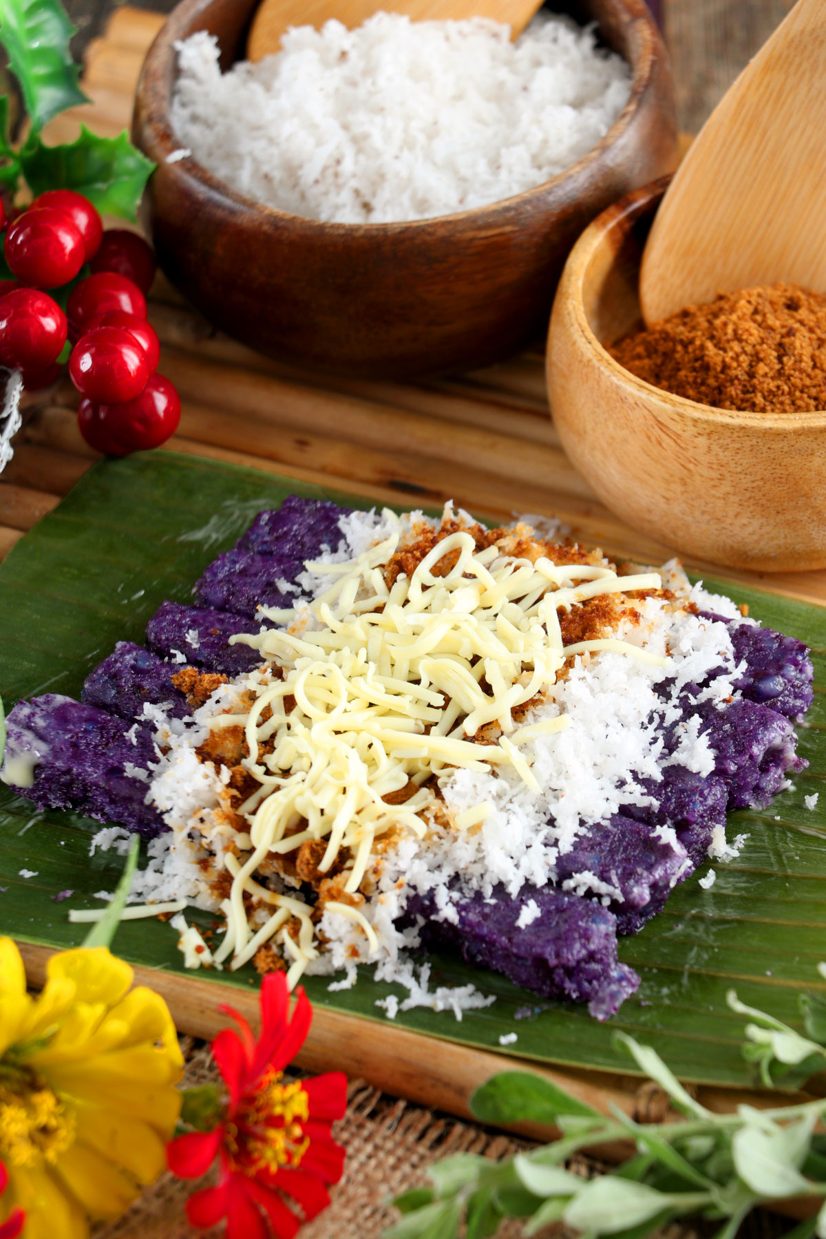 Steamed purple rice cake with grated coconut and muscovado
