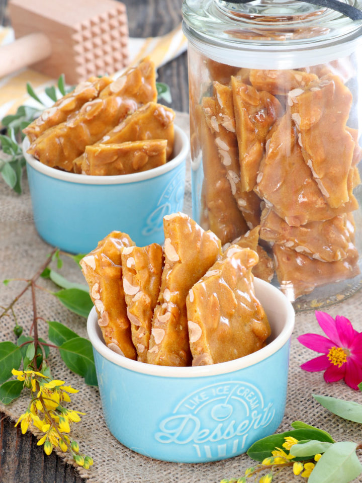 peanut brittle in cups and jar