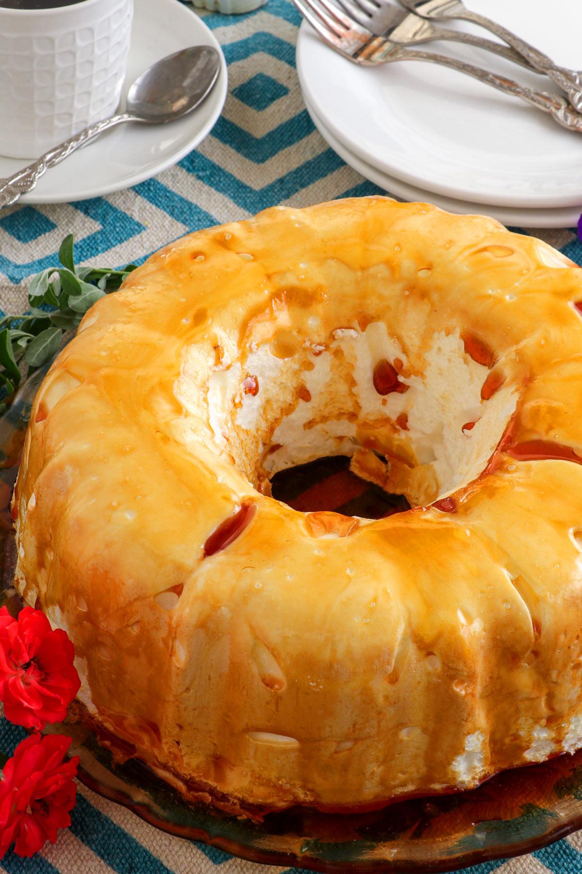 Cloud Cake or Molotof- a meringue-based pudding glazed with sugar caramel.