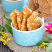 Homemade Peanut Brittle in a cup