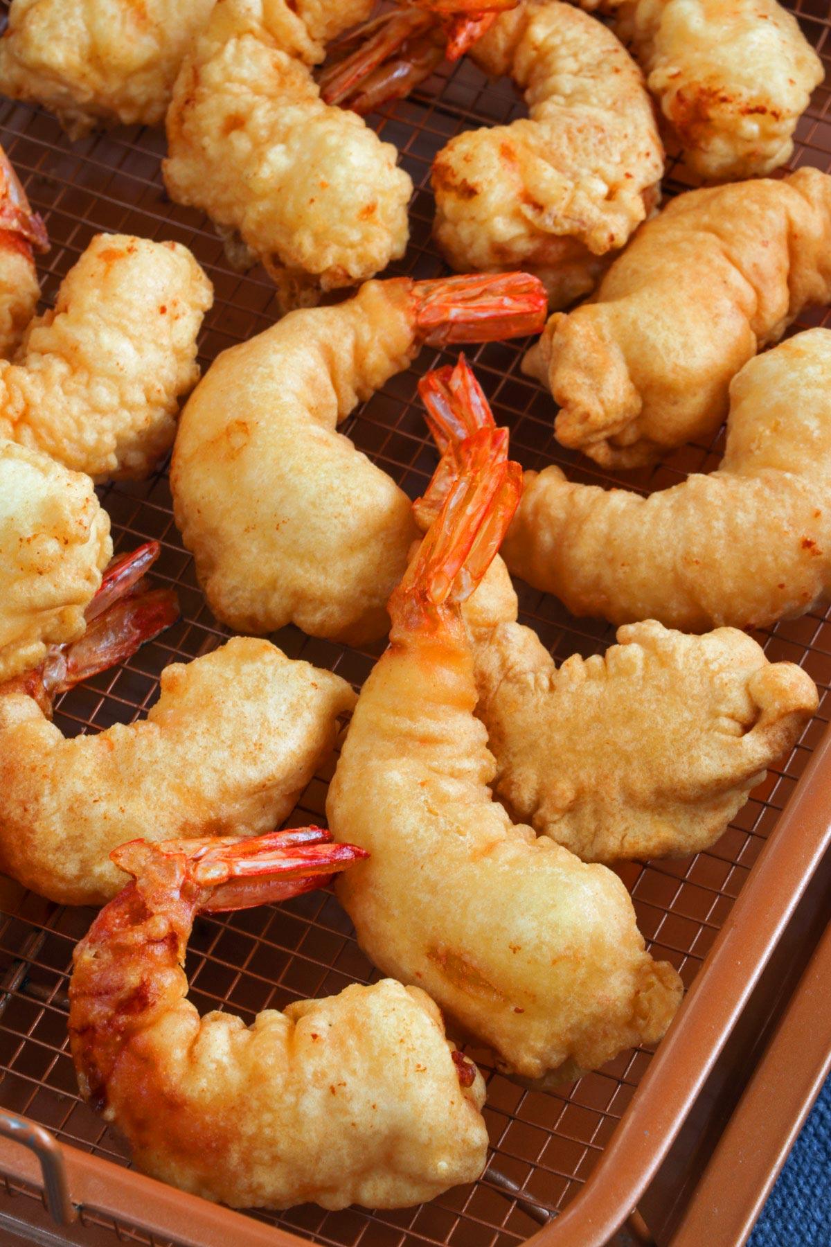 Crispy fried battered shrimp.