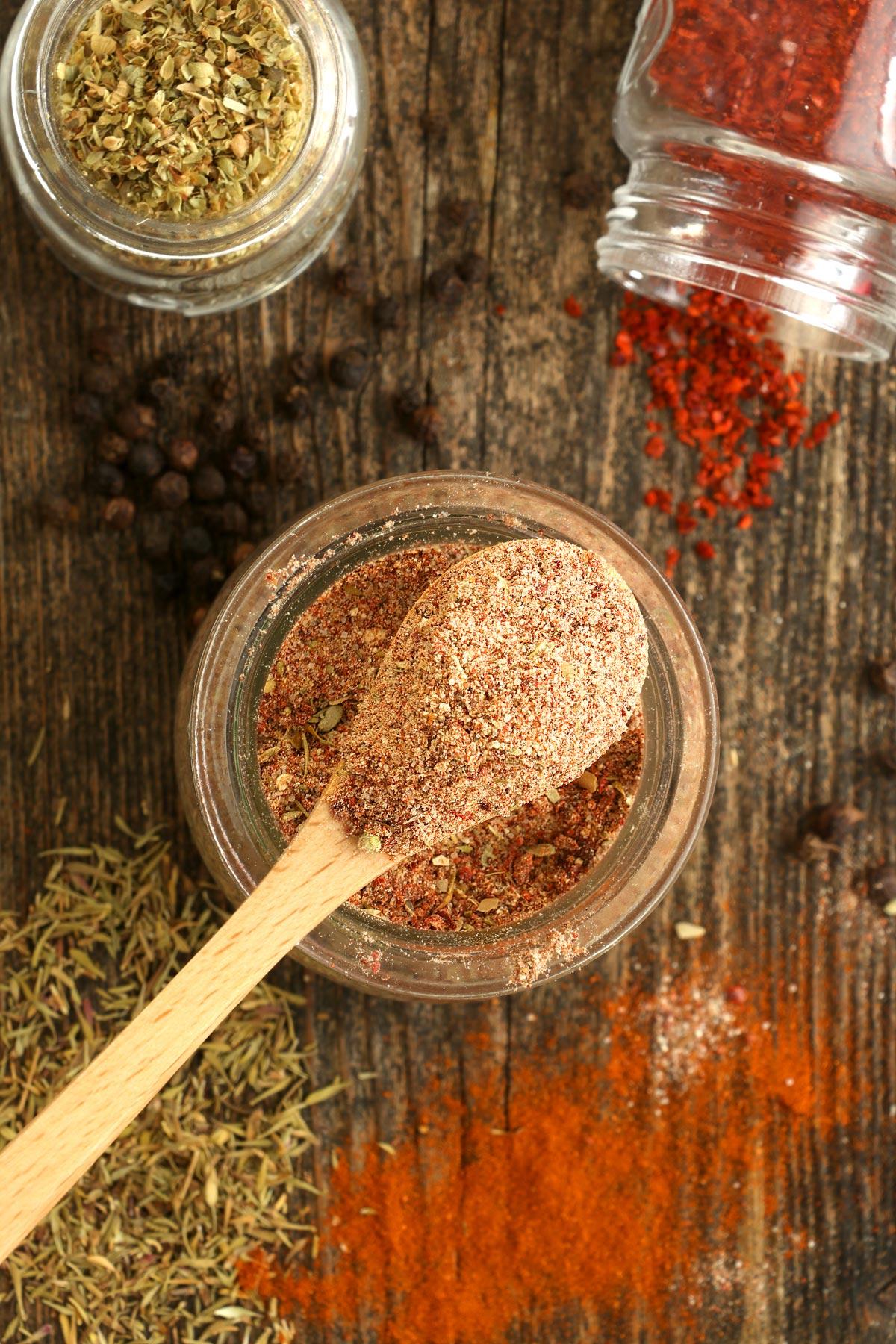 A jar of Cajun seasoning made from scratch.