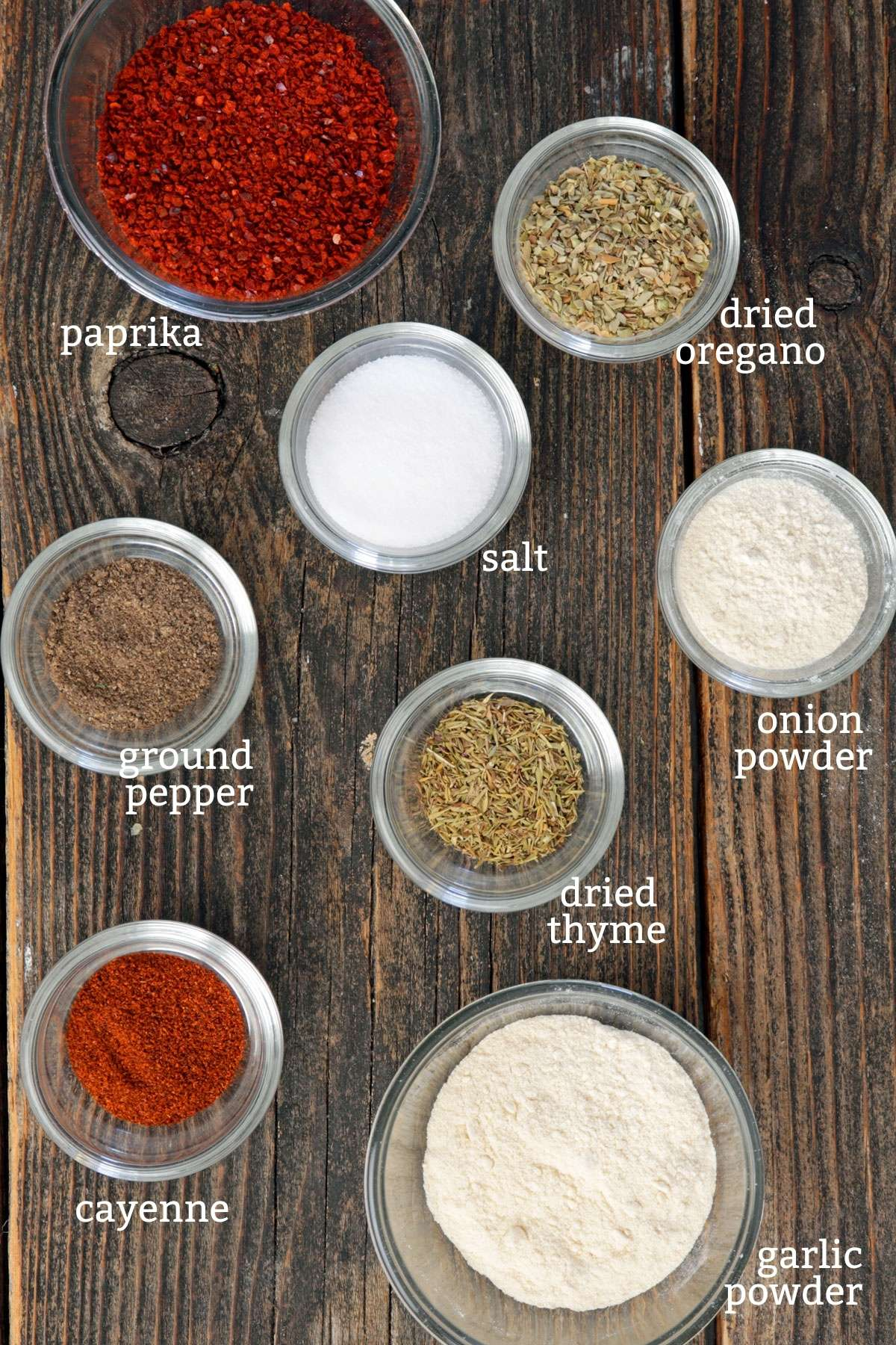 Ingredeints for Cajun Seasoning