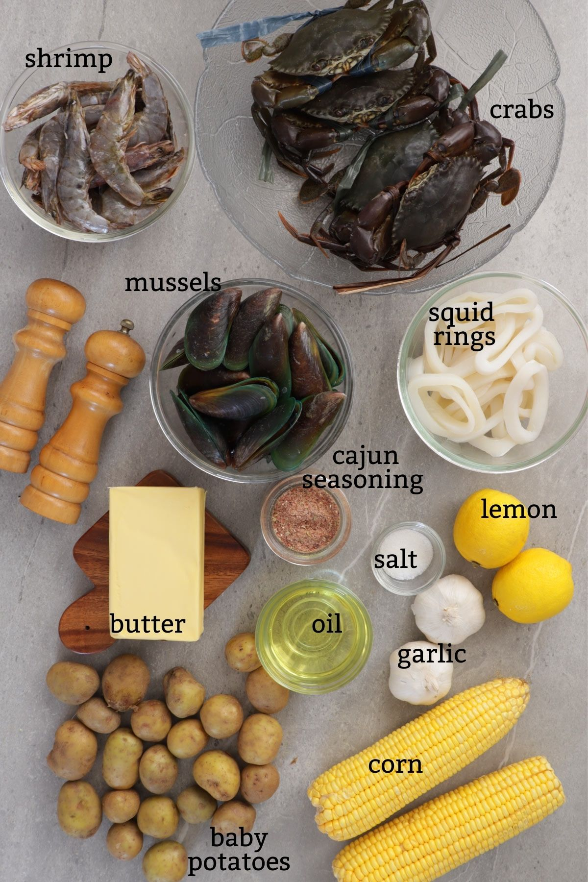 Ingredients for Cajun Seafood Boil