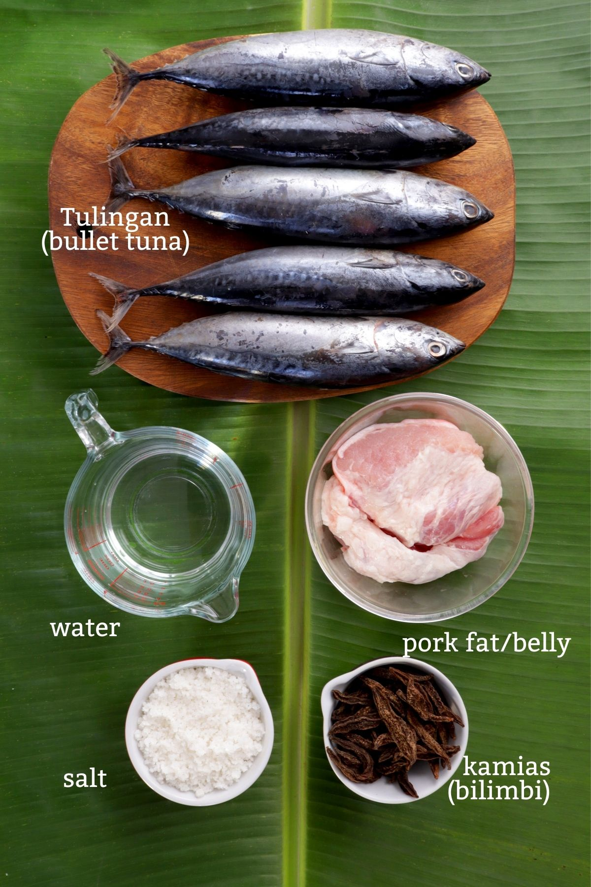 Ingredients for Sinaing na Tulingan