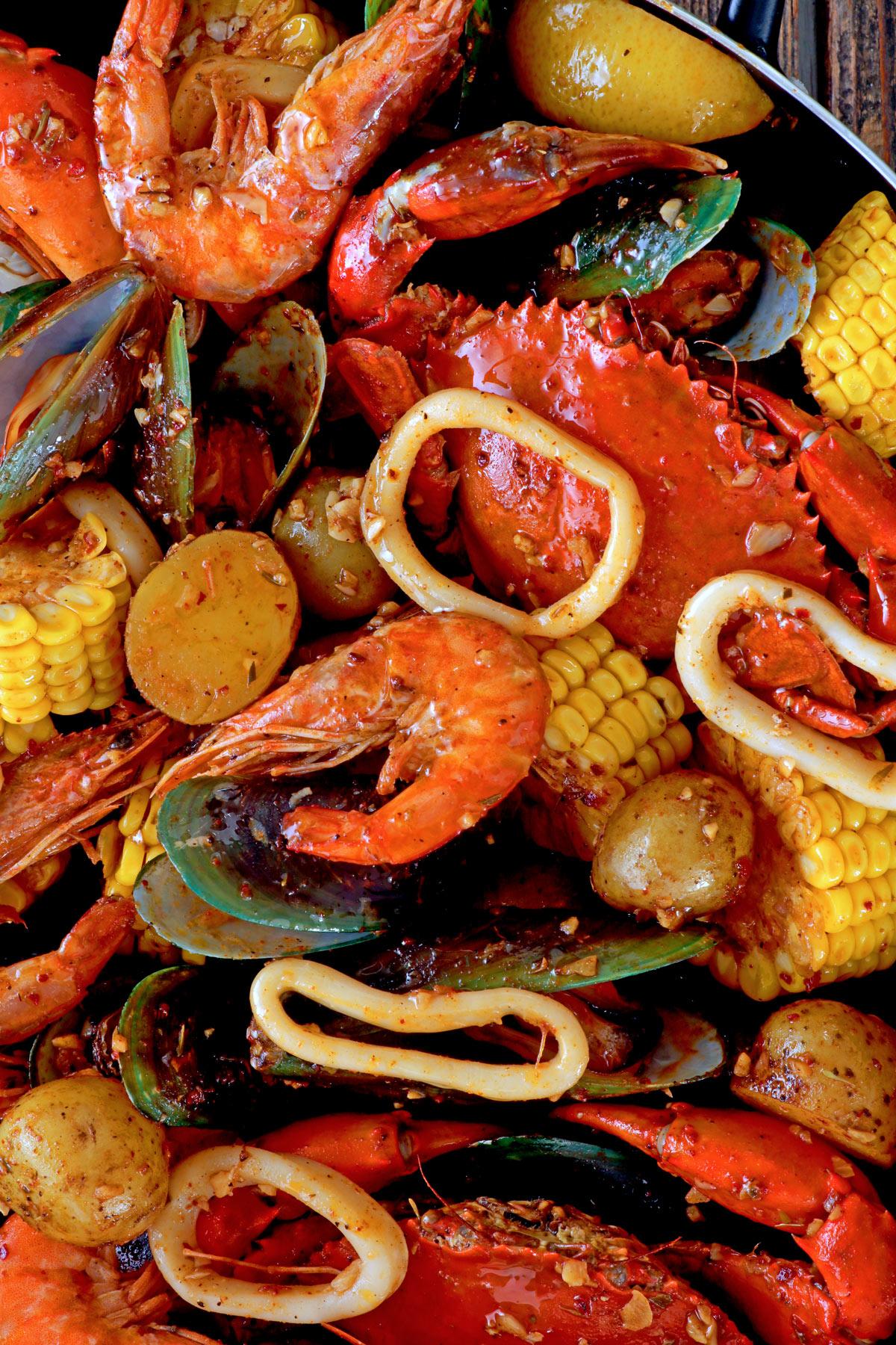 Seafood Boil with Butter Garlic Cajun Sauce