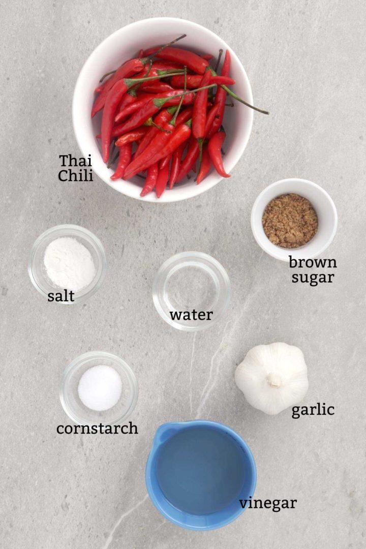 Ingredients for making Chili Garlic Sauce