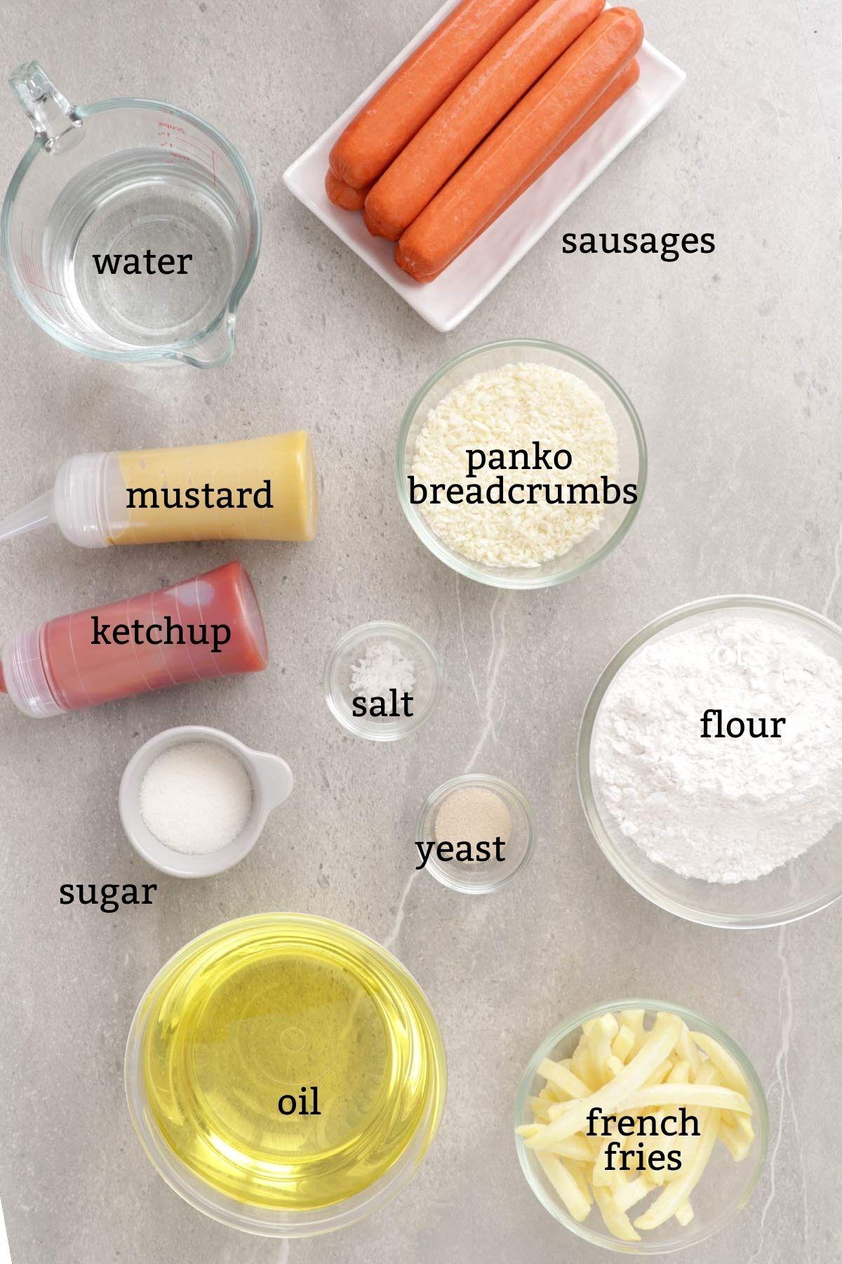 Ingredients for making Korean Corn Dogs.