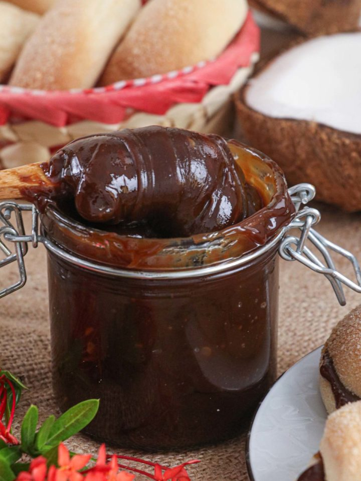 Coconut jam in a jar.