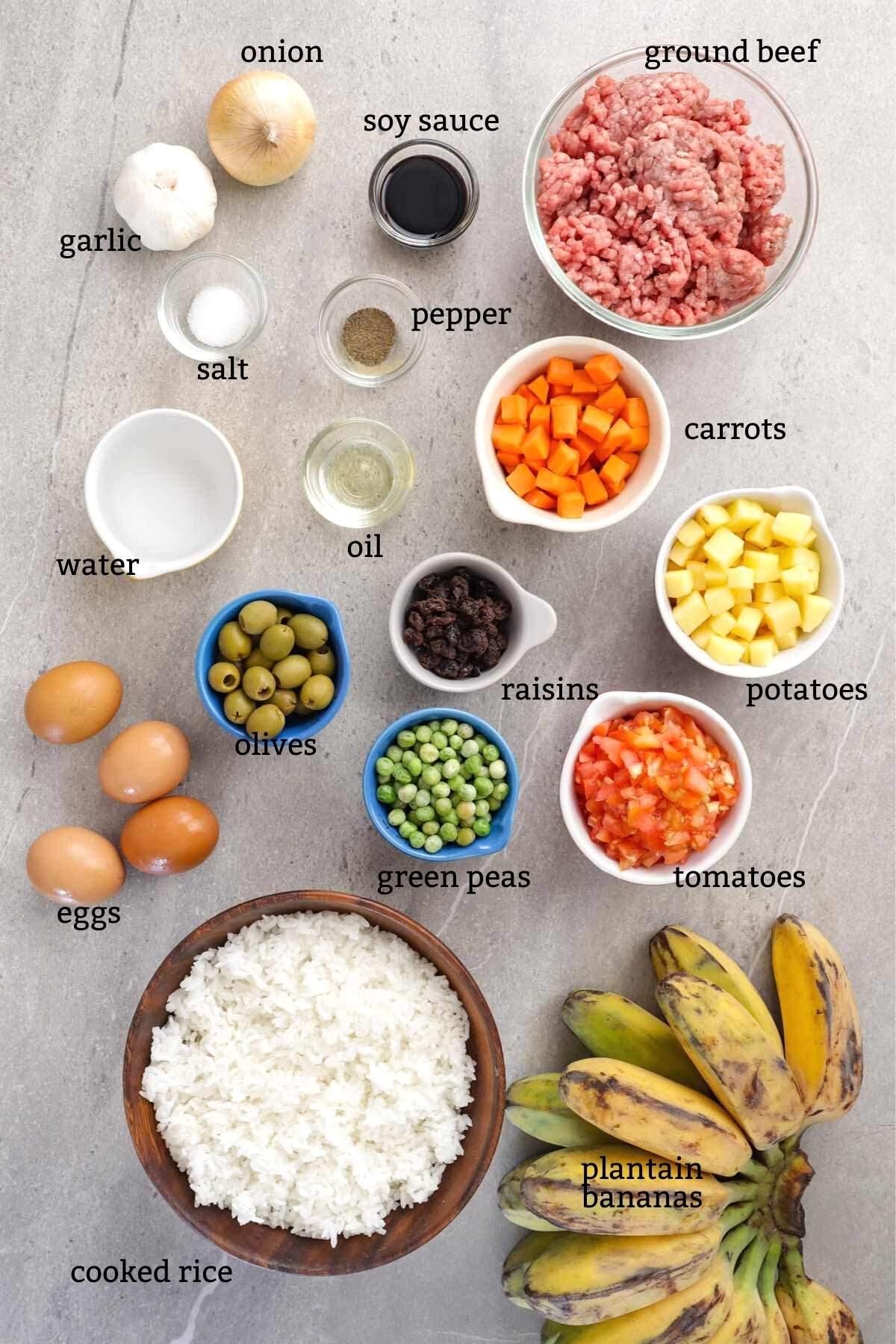 Ingredients for making Arroz ala Cubana dish.