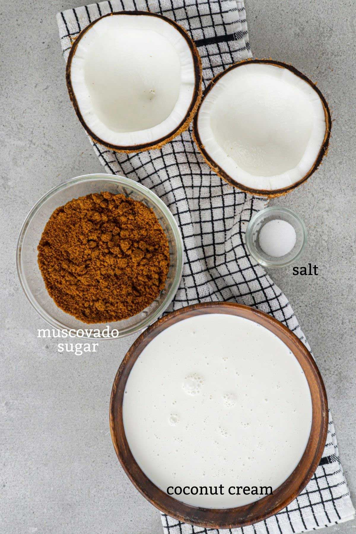 Ingredients for coconut jam