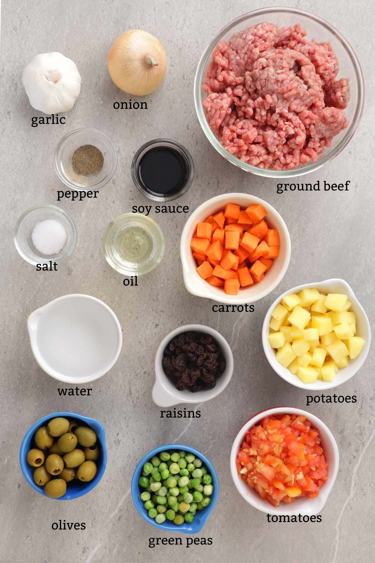 Ingredients for making Picadillo.