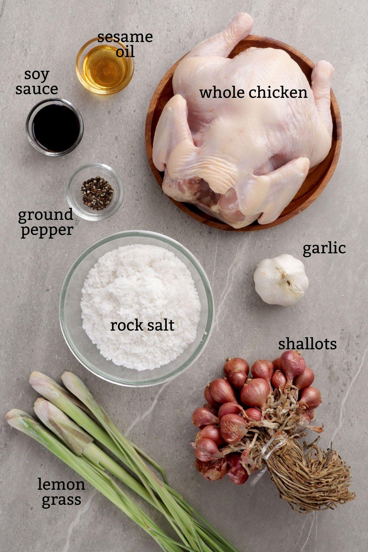 Ingredinets for making Pinaupong manok.