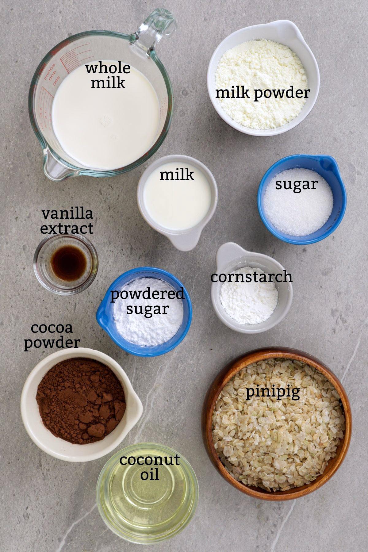 Ingredients for making Pinipig Ice Cream