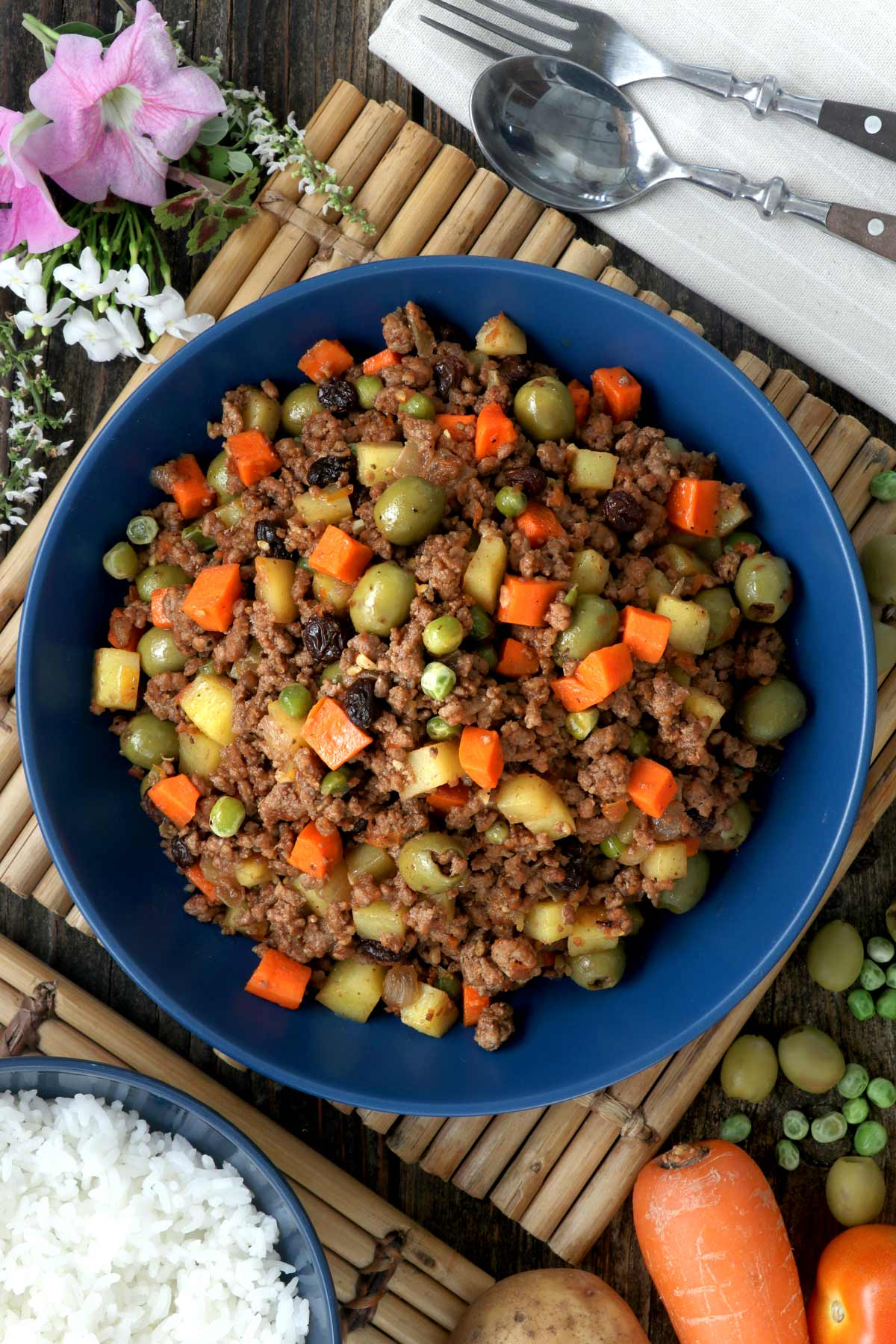 Beef Picadillo served on a plate.