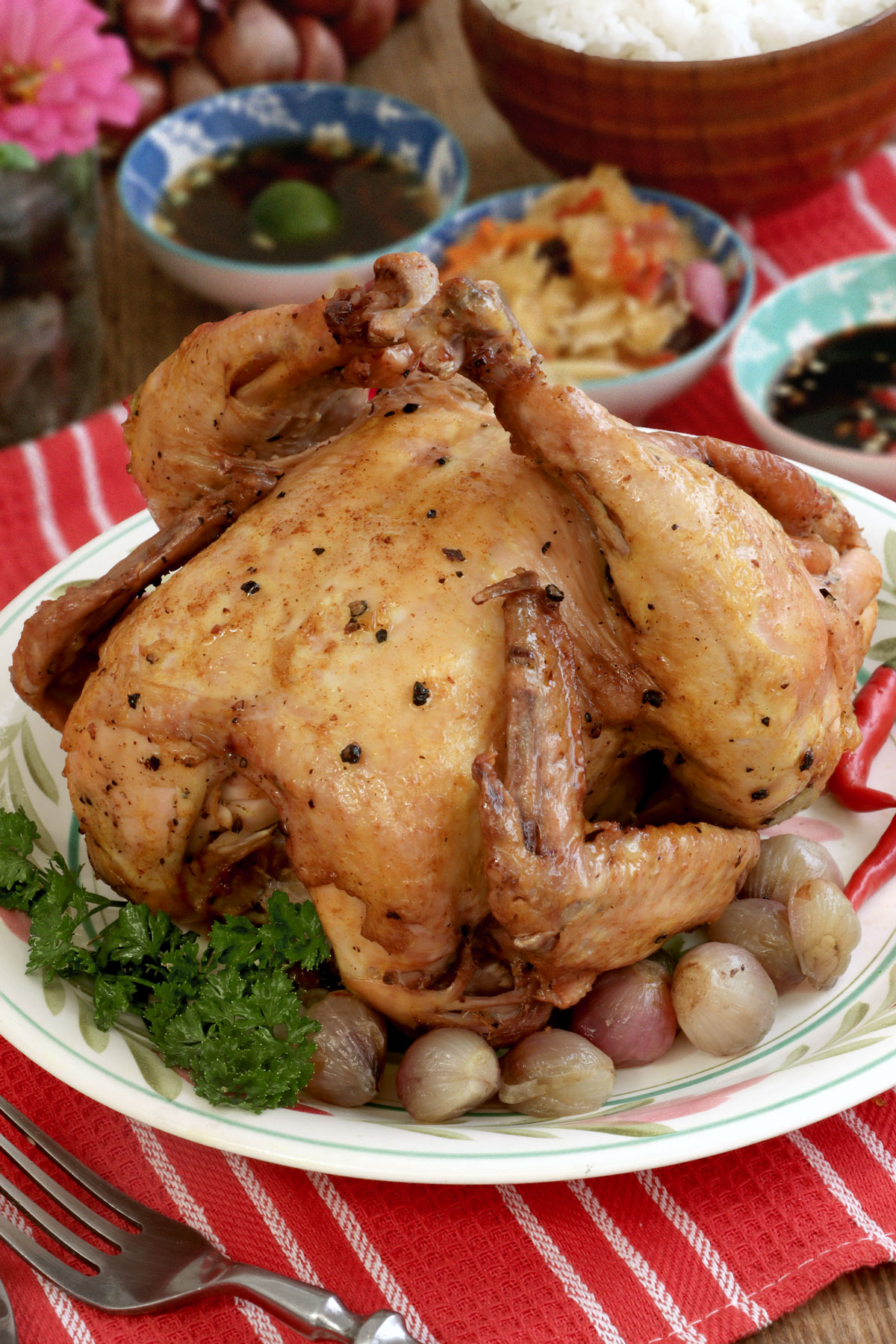 Pinaupong manok sa Asin - roasted chicken cooked in a pot.