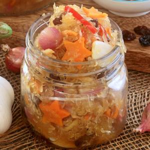 Achara -Green Papaya Relish with onions, carrots, bell pepper, raisins.