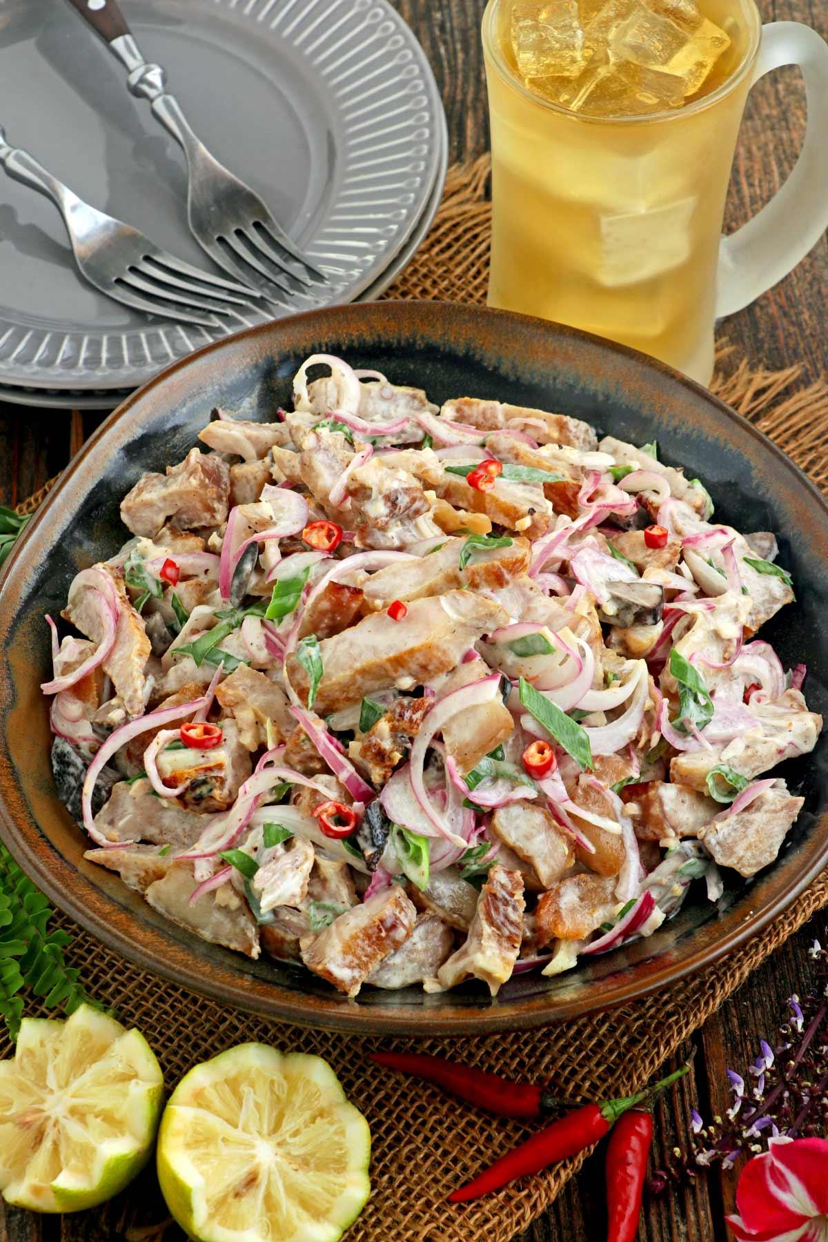 Ilocano Dinakdakan dish on a plate.