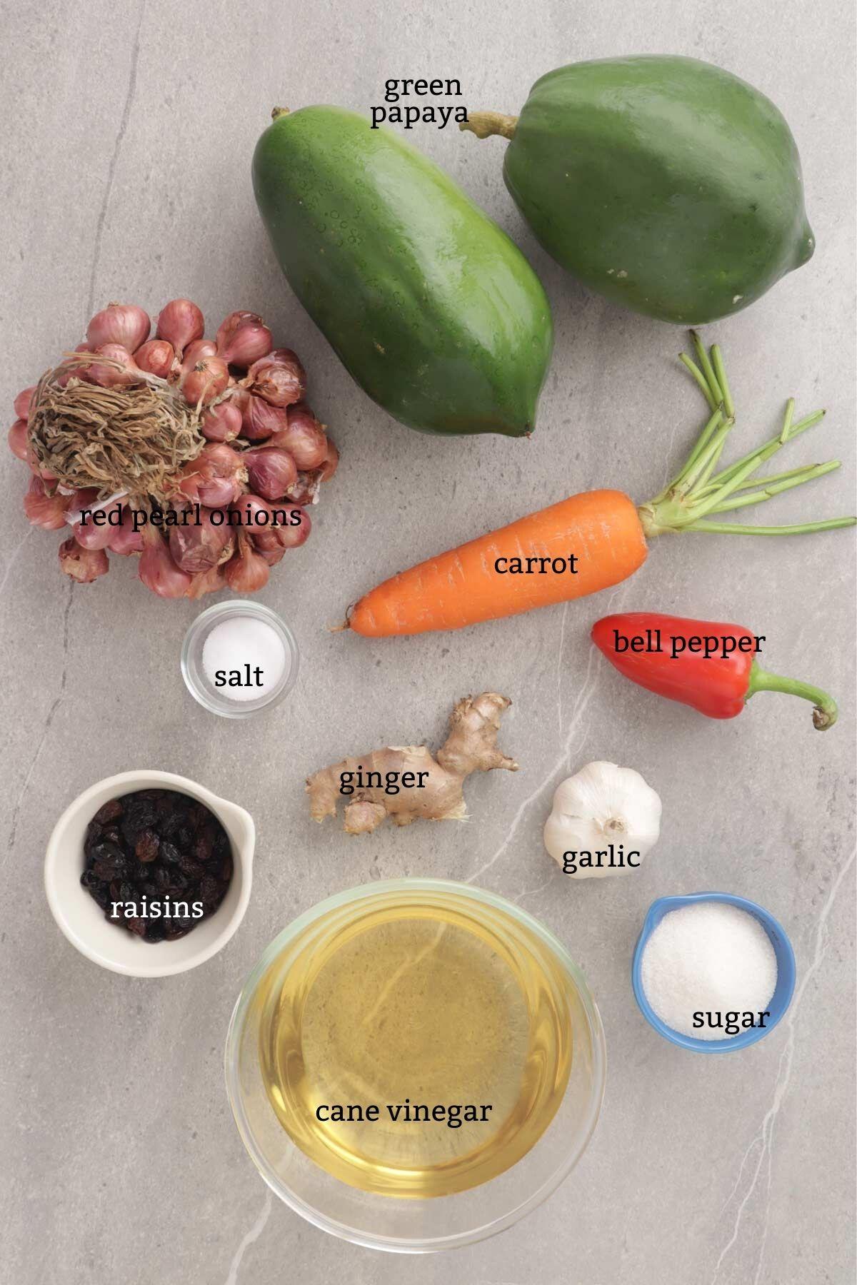 Ingredients for Atchara