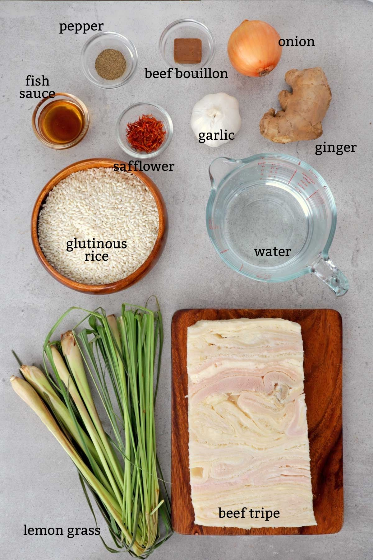 Ingredients for making Goto or Lugaw.
