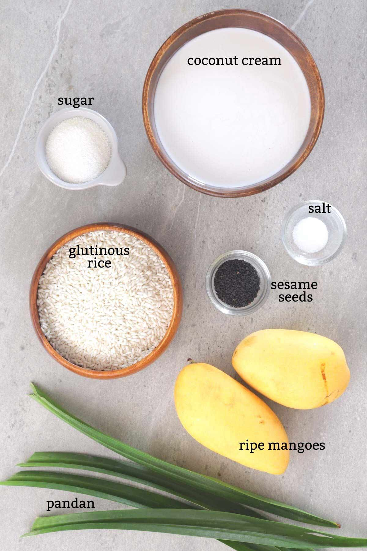 Ingredienst for making Mango Sticky Rice