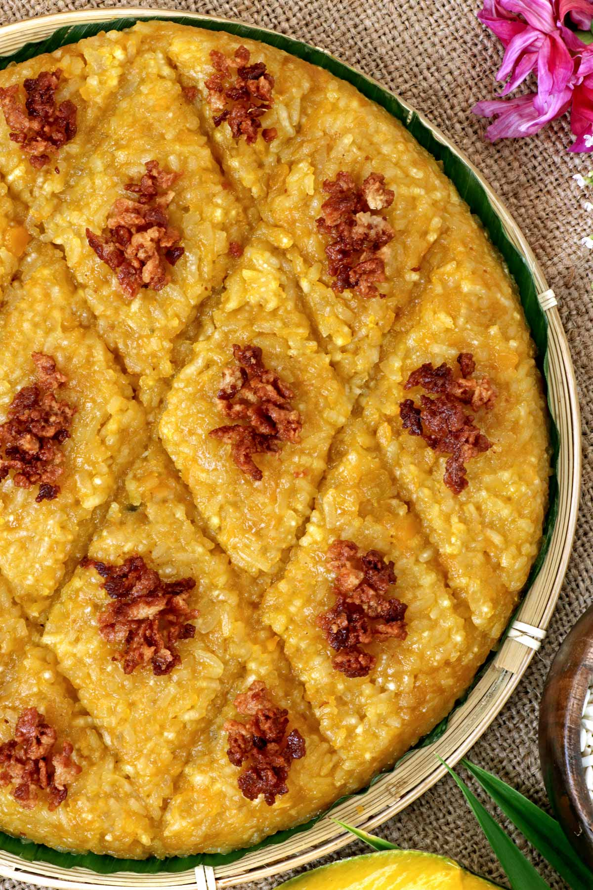 Biko Kalabasa - a glutinous rice cake with squash.