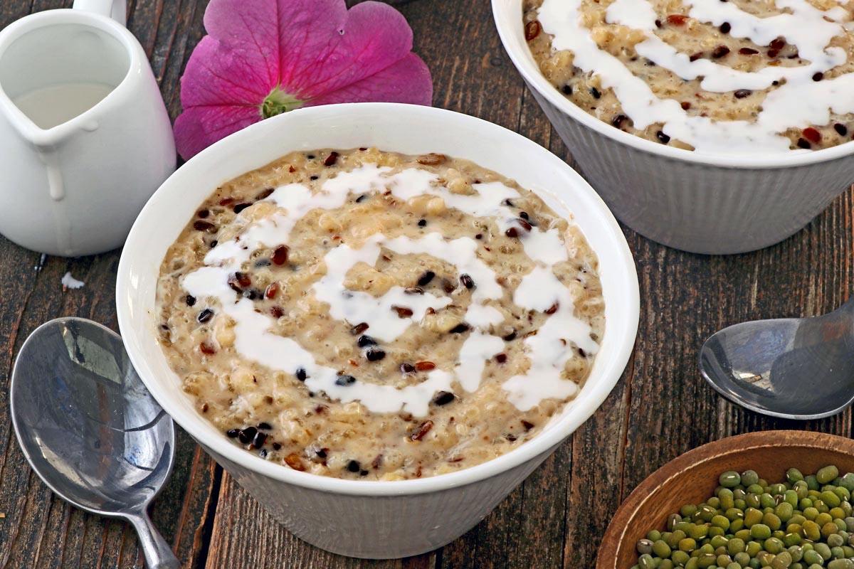 A bowl of ginataang monggo or lelut balatung.
