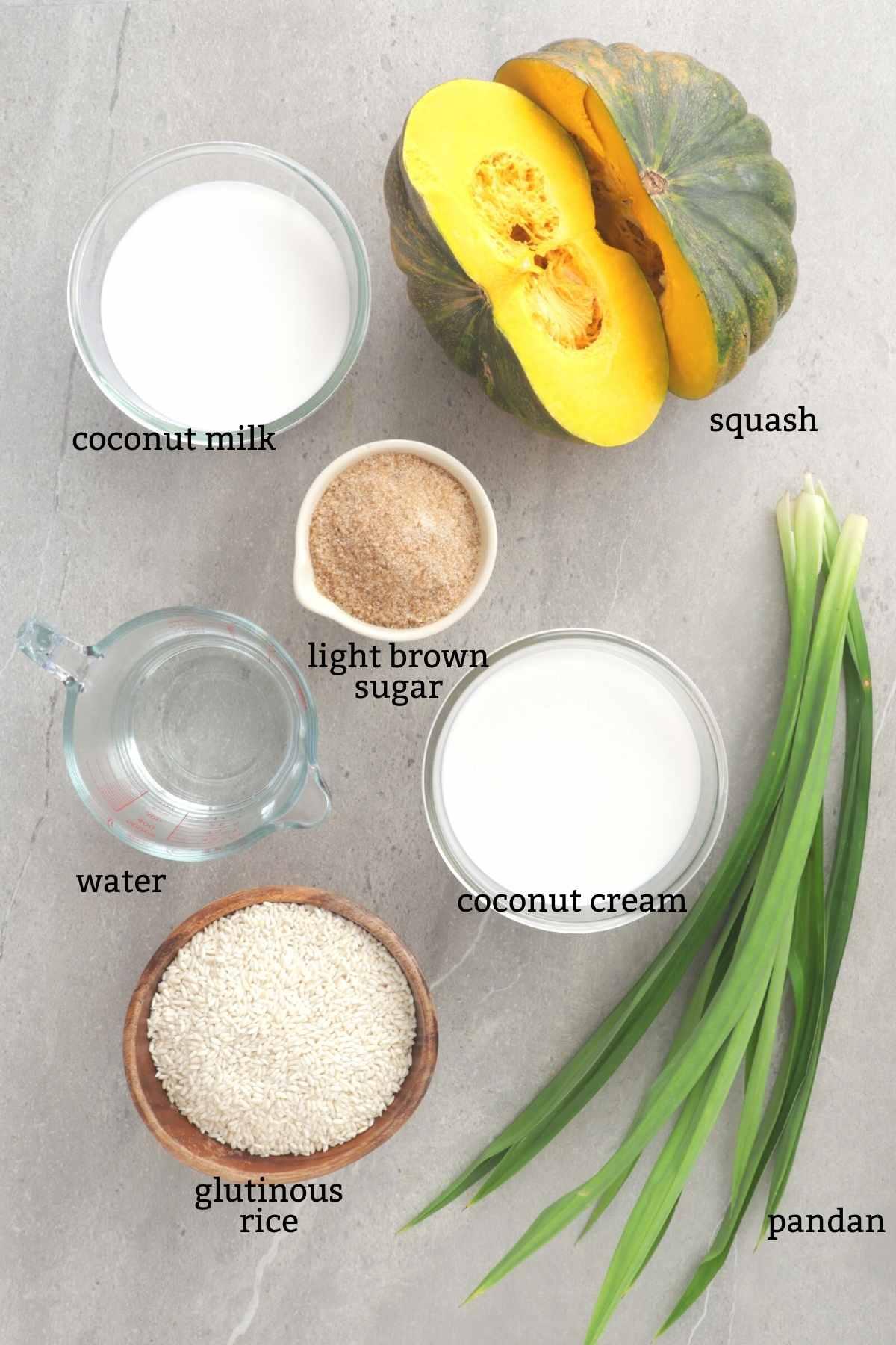 Ingredients for making biko kalabasa