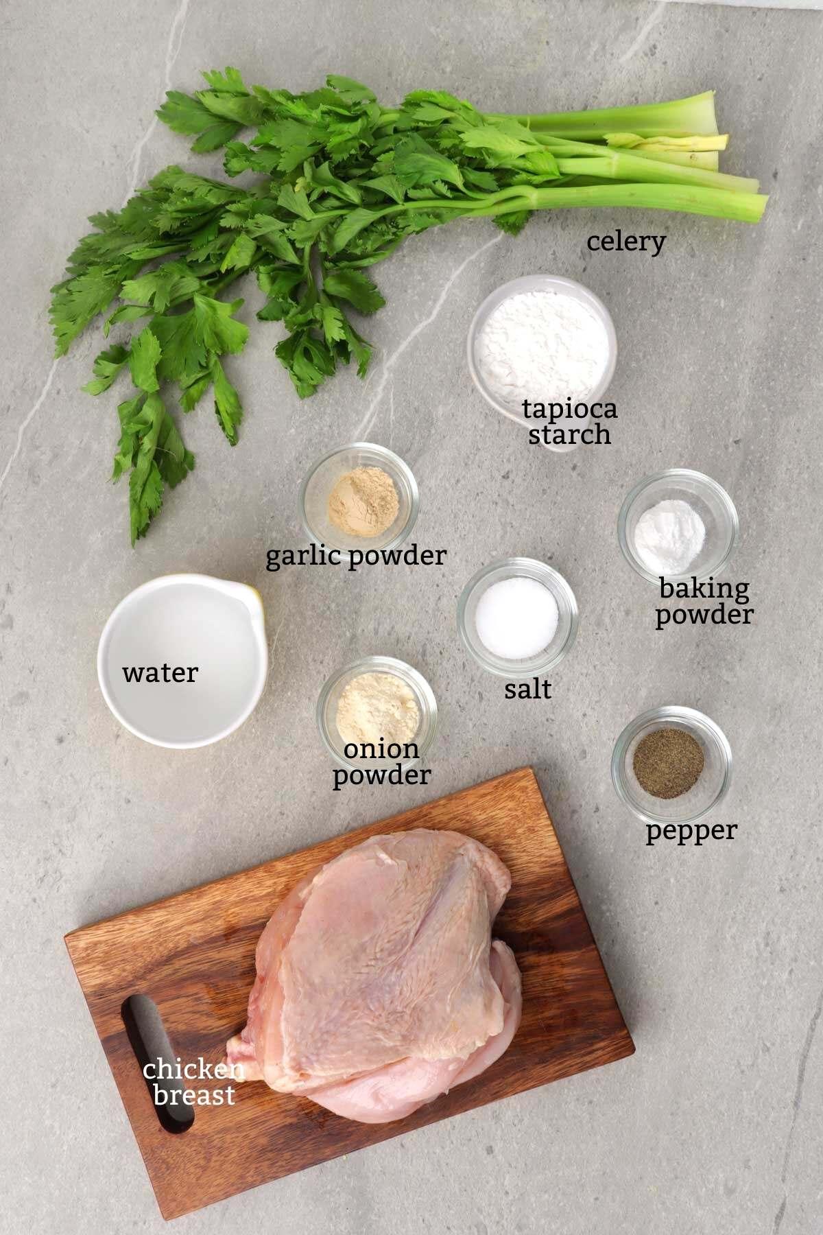 Ingredients for making chicken balls