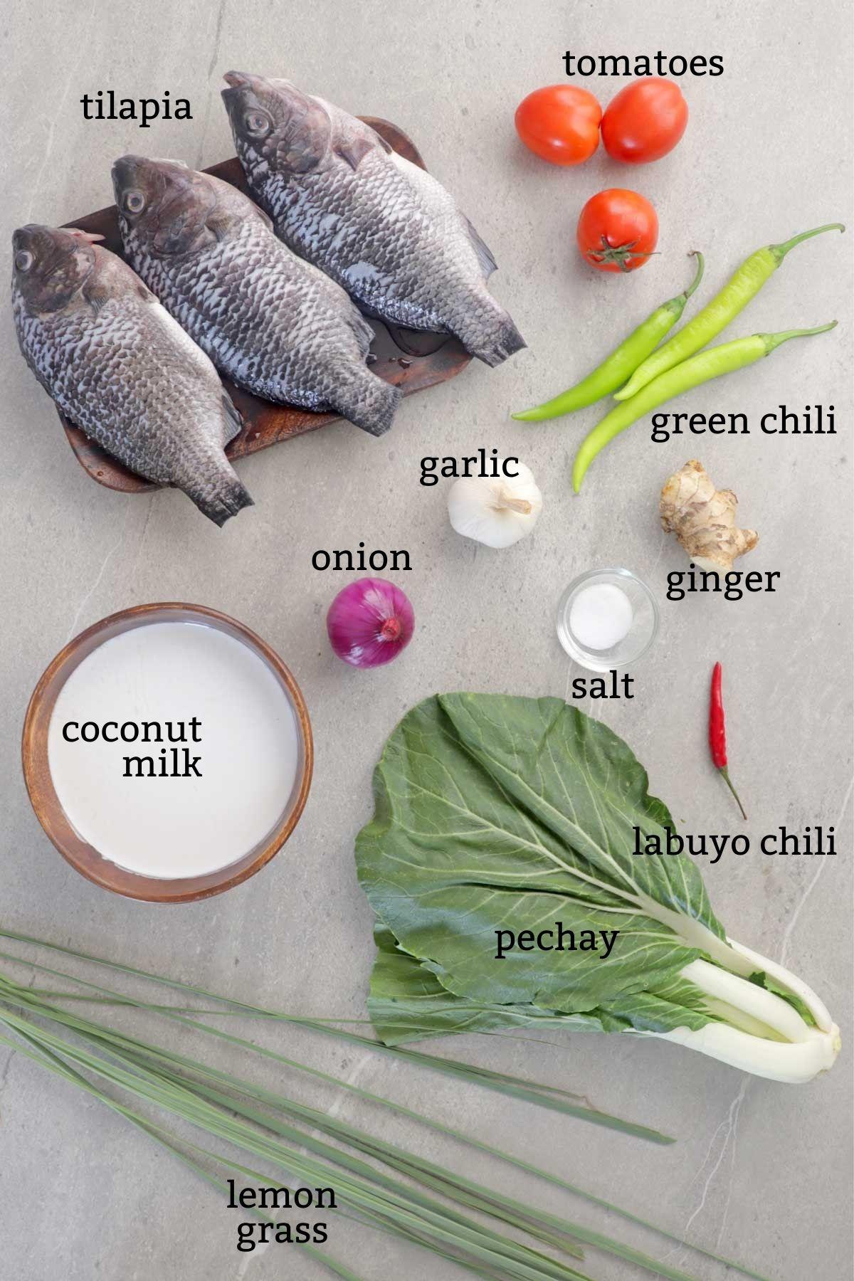 Ingredients for cooking Sinanglay na Tilapia
