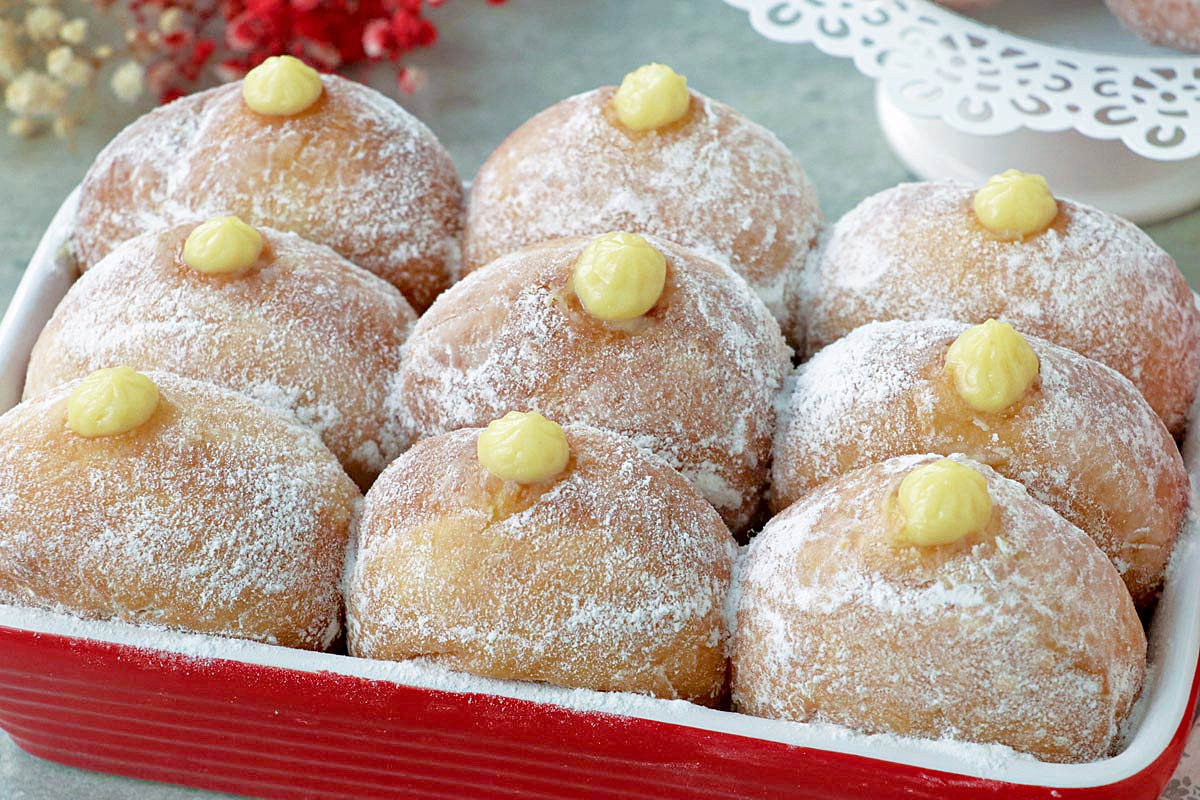 Donuts filled with bavarian cream.