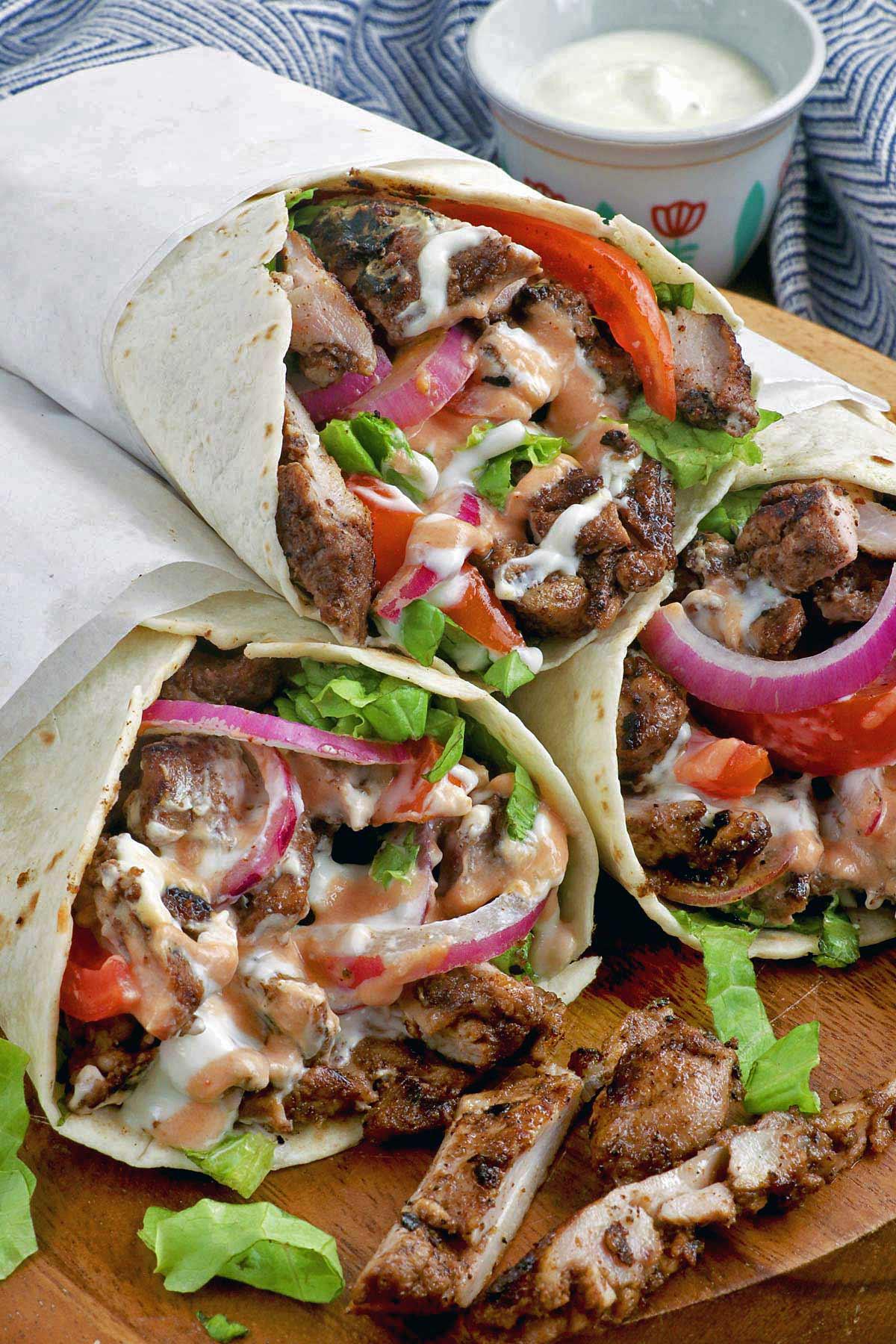 Chicken Shawarma with yogurt-garlic sauce.