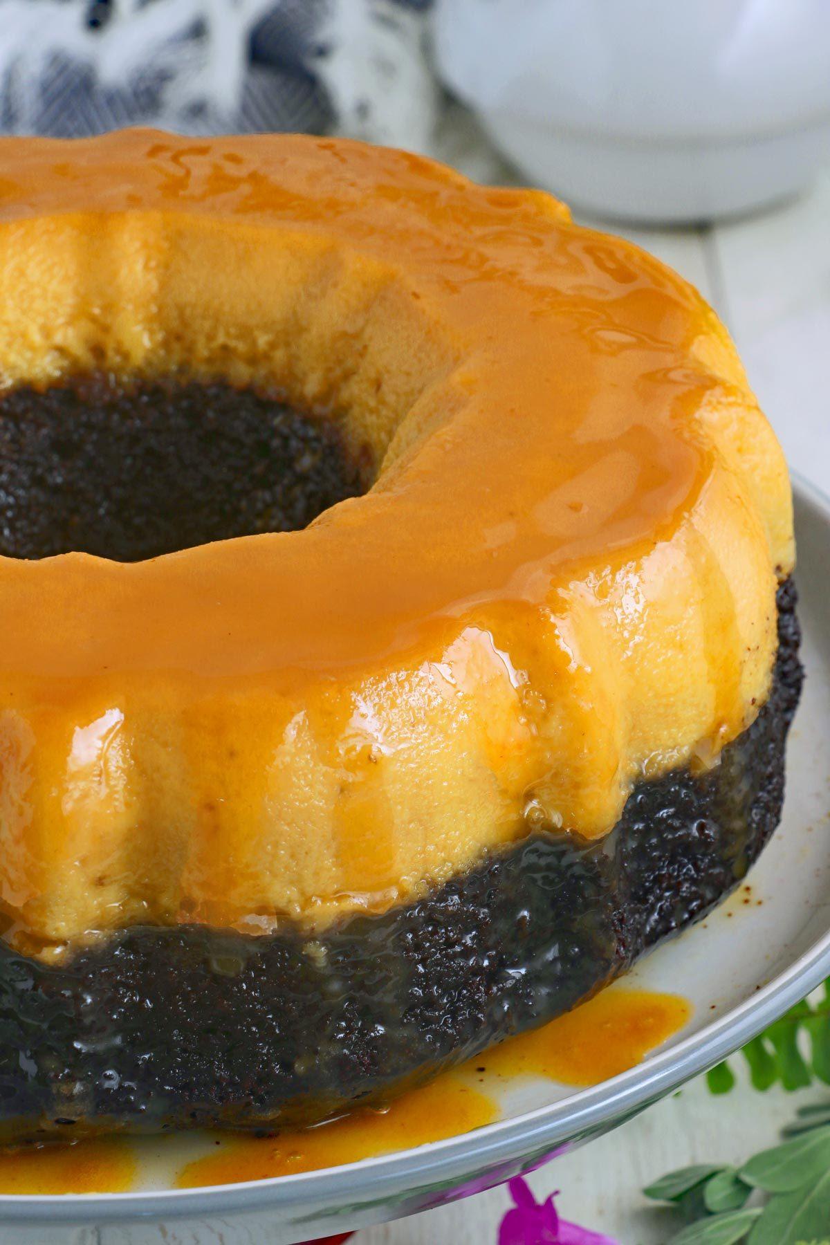 Chocoflan- a three layer dessert of chocolate cake, flan and caramel sauce.