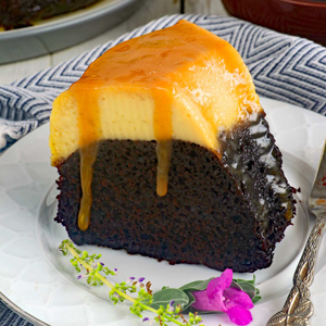 A slice of Choccoflan a.k.a. Impossible Cake with caramel topping.