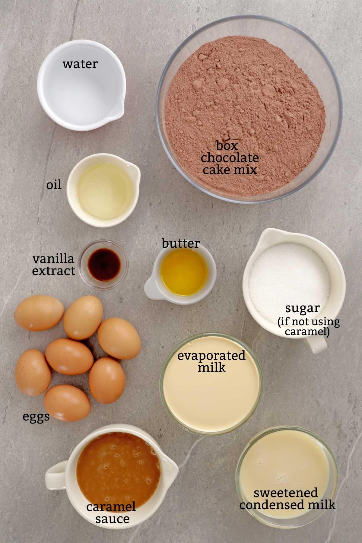 Ingredients for making chocoflan.
