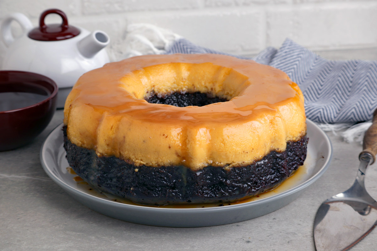 Impossible cake is a three layer dessert of chocolate cake, flan and caramel.