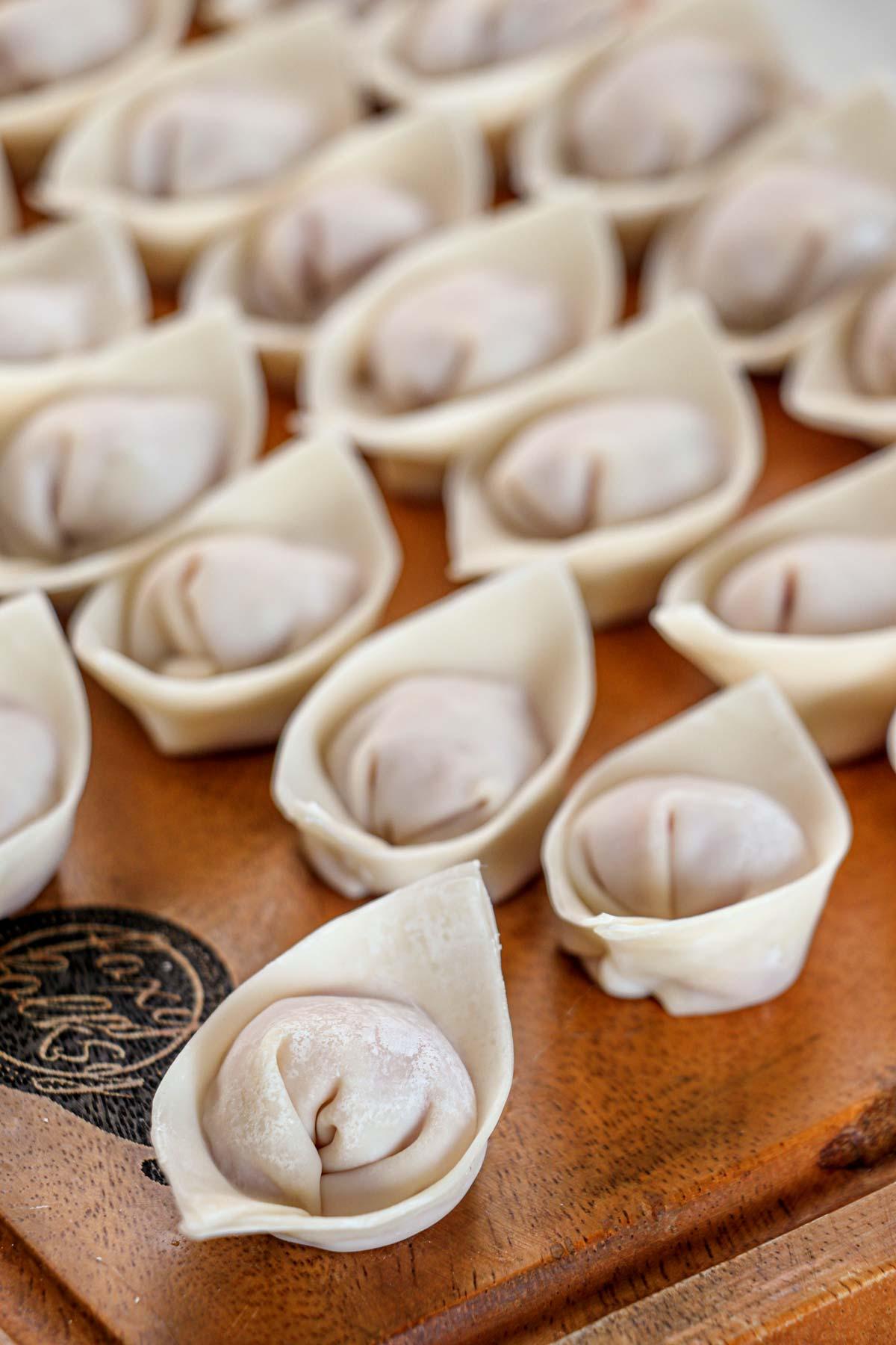 Molo dumplings before cooking.