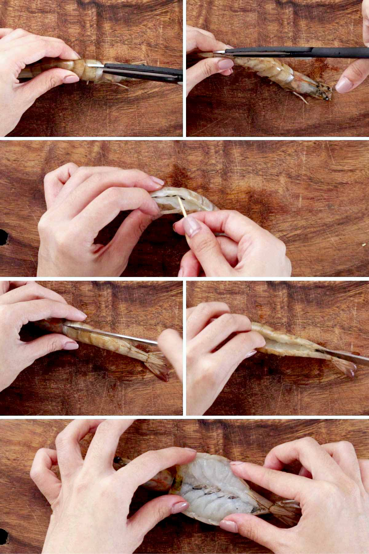 Step-by-step photos to butterfly shrimp